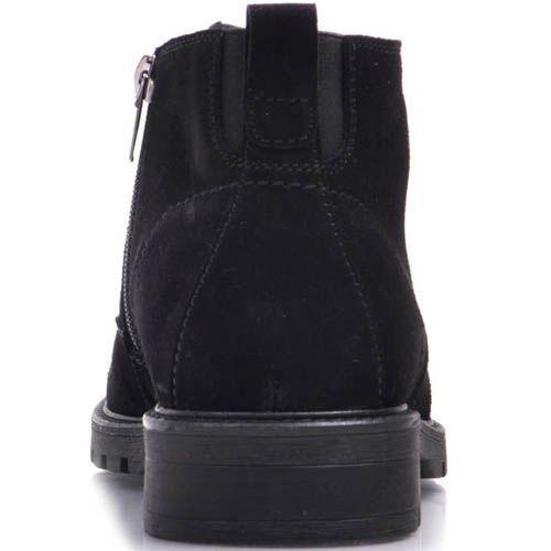 Ботинки Prego зимние из натуральной замши на меху черного цвета с тонкой шнуровкой и молнией, фото