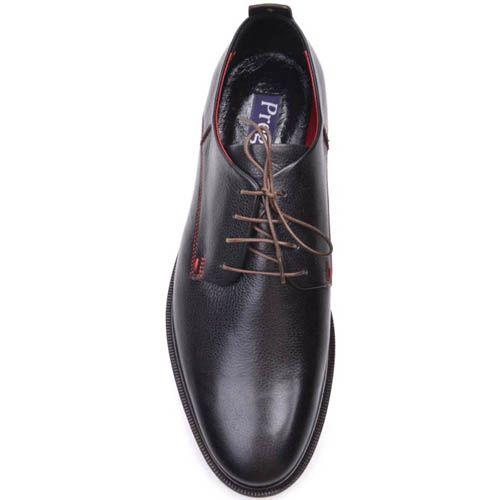 Туфли Prego черного цвета с красной строчкой и синей тонкой линией дволь подошвы, фото