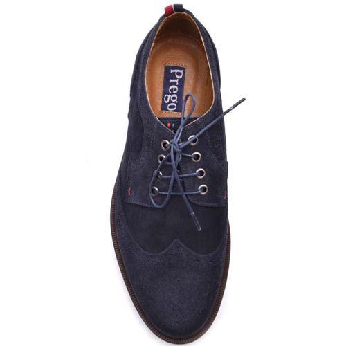 Туфли-броги Prego синего цвета замшевые с тонкой синей линией вдоль подошвы, фото