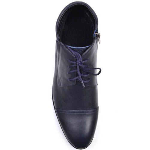 Туфли Prego высокие синего цвета с узким носком и на шнуровке, фото