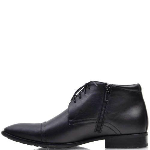 Туфли Prego высокие черного цвета с узким носком и на шнуровке, фото