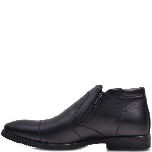 Ботинки Prego зимние черного цвета со строчками поперек носка, фото