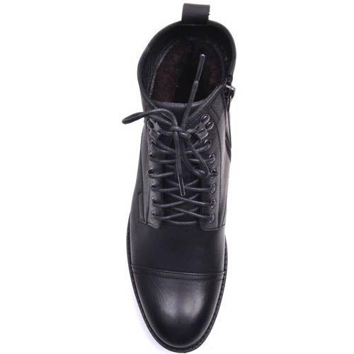 Ботинки Prego зимние черного цвета из матовой кожи с мехом на шнуровке, фото