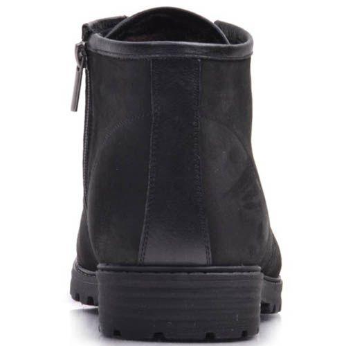 Ботинки Prego зимние черного цвета из нубука с высотой прикрывающей щиколотку, фото