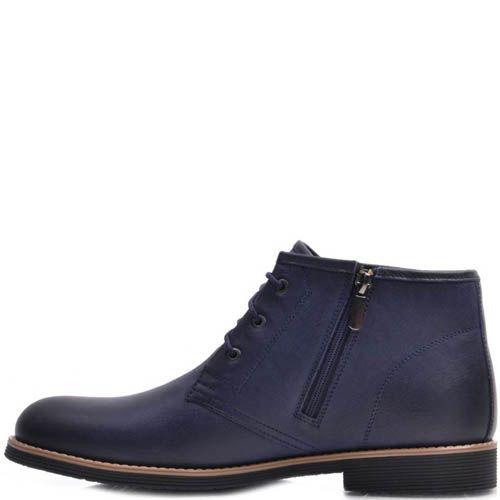 Ботинки Prego зимние из кожи синего цвета с коричневой вставкой вдоль подошвы, фото
