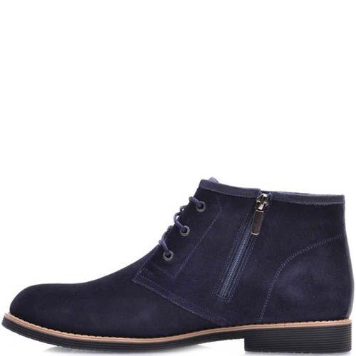 Ботинки Prego зимние на меху замшевые черного цвета с прямым голенищем, фото