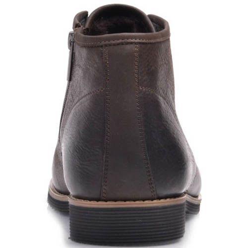 Ботинки Prego зимние коричневого цвета из нубука на шнуровке с боковой молнией, фото