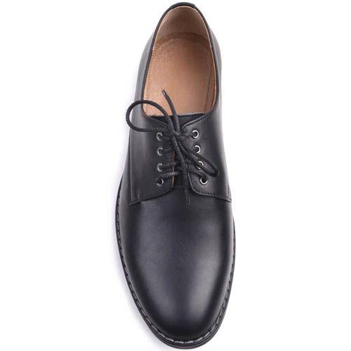 Туфли Prego дымчатого черного цвета со шнуровкой, фото