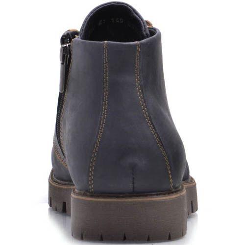 Ботинки Prego зимние синего цвета из нубука с коричневыми шнурками и коричневыми вставками, фото