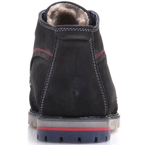 Ботинки Prego зимние на меху из нубука черного цвета с белыми и красными строчками, фото