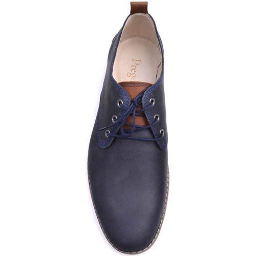 Туфли Prego синего цвета из нубука с коричневой вставкой на заднике, фото