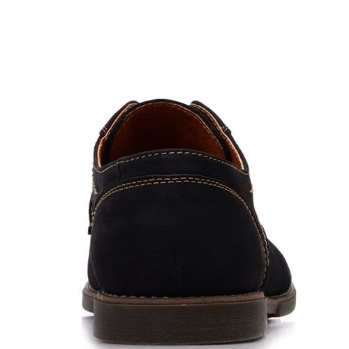 Туфли Prego из замши черного цвета с коричневой строчкой, фото