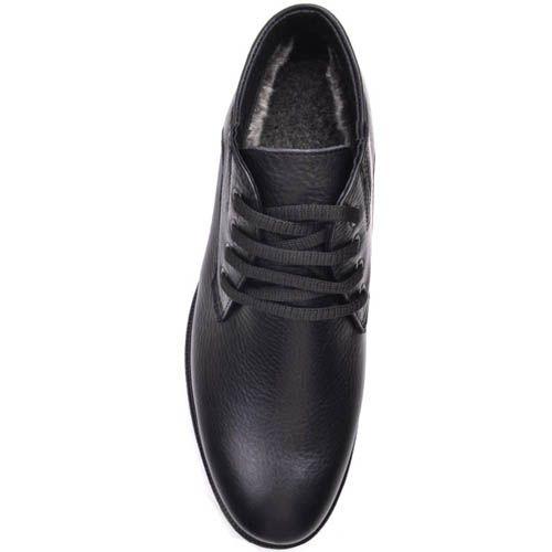 Ботинки Prego зимние из слегка зернистой кожи черного цвета и на шнуровке, фото