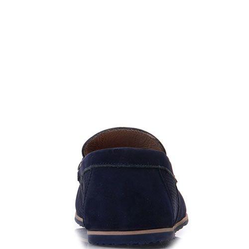 Мокасины Prego из нубука синего цвета с перфорацией, фото