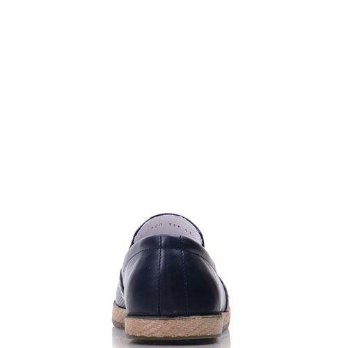 Слипоны Prego из натуральной кожи синего цвета с мелкой перфорацией, фото