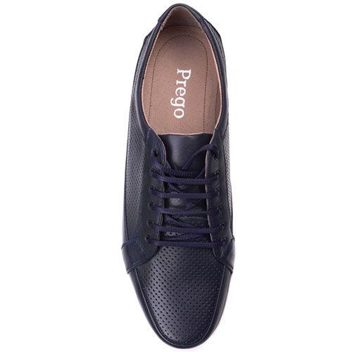 Туфли Prego из натуральной перфорированной кожи синего цвета, фото