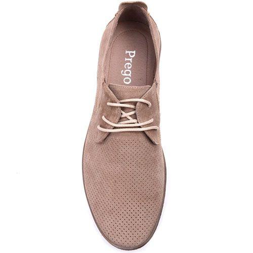 Замшевые туфли Prego бежевого цвета с мелкой перфорацией, фото