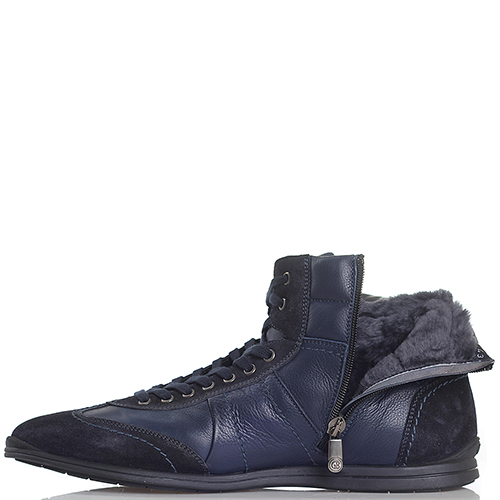 Ботинки из комбинации кожи и замши Gianfranco Butteri синего цвета, фото