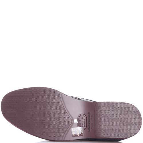 Утепленные туфли-броги Luca Guerrini из черной мягкой кожи, фото