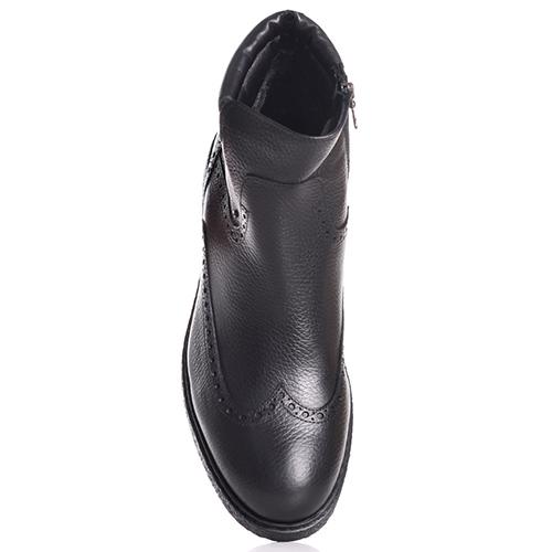 Черные ботинки-броги Luca Guerrini из зернистой кожи, фото