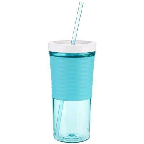 Стакан с соломкой Contigo Shake & Go голубого цвета 540 мл, фото