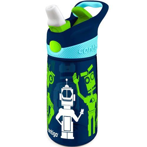 Бутылка детская Contigo Striker 420 мл синяя с роботами, фото