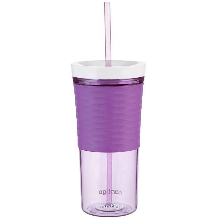Стакан с соломкой Contigo Shake & Go фиолетового цвета 540 мл
