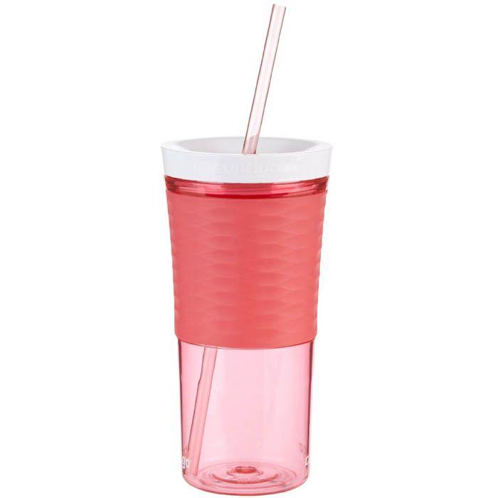 Стакан с соломкой Contigo Shake & Go красного цвета 540 мл