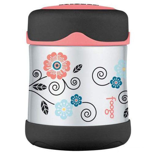 Термос Foogo для пищевых продуктов с розовыми и голубыми цветами