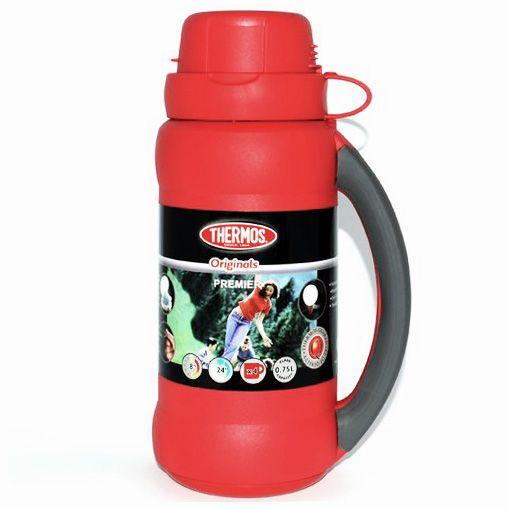 Термос Stronglas на 0,5 л красный с ручкой и одной чашкой