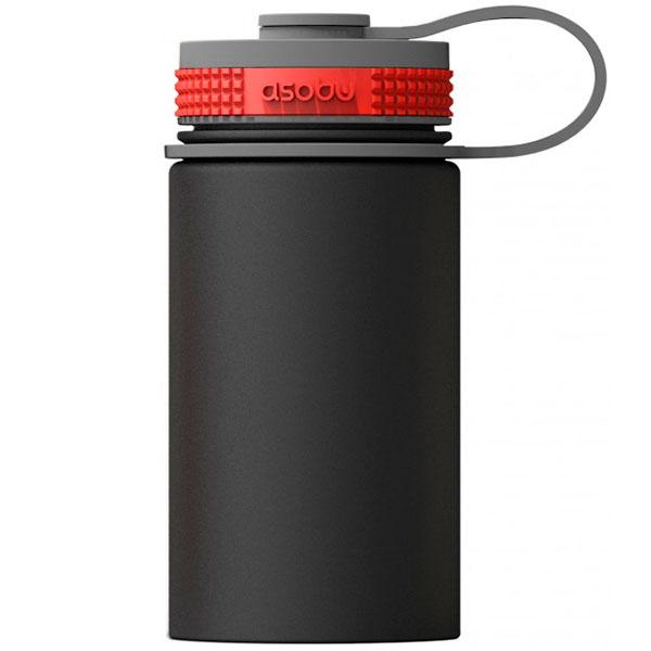 Черная термобутылка Asobu Mini Hiker 354мл с красным