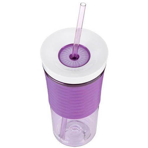 Стакан с соломкой Contigo Shake & Go фиолетового цвета 540 мл, фото