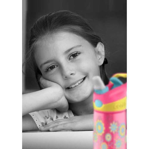 Бутылка детская Contigo Striker 420 мл розовая с цветами, фото