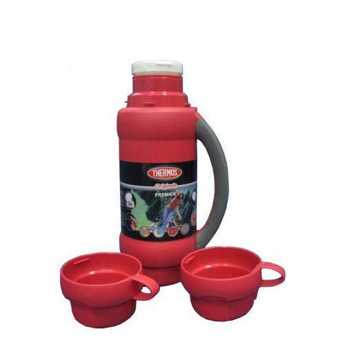 Термос Stronglas на 1 л красный с ручкой и двумя чашками, фото