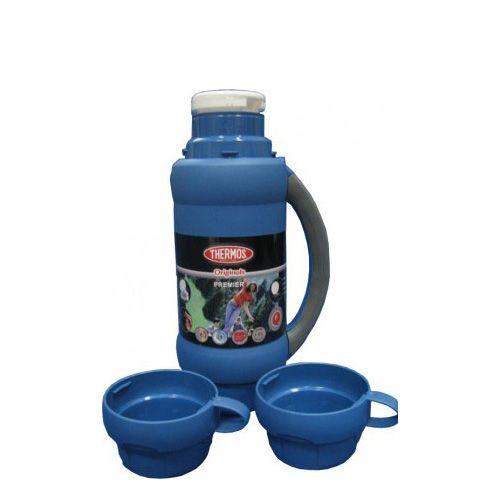 Термос Stronglas на 1,8 л синий с ручкой и двумя чашками, фото