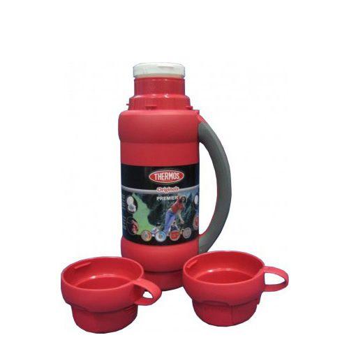 Термос Stronglas на 1,8 л красный с ручкой и двумя чашками, фото