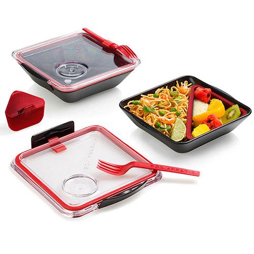 Ланч-бокс квадратный Black+Blum Box Appetit черный с красным, фото