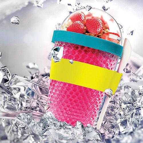 Розовый термоконтейнер Asobu Chill Yo 2 Go с ложкой, фото