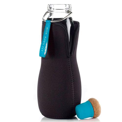 Эко-бутылка стеклянная Black+Blum Eau Good с голубым декором, фото