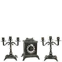 Часы каминные  Alberti Livio и два подсвечника, фото