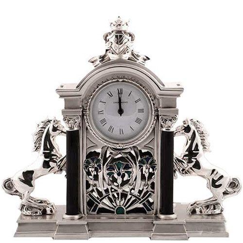 Часы настольные Две лошади серебристого цвета, фото