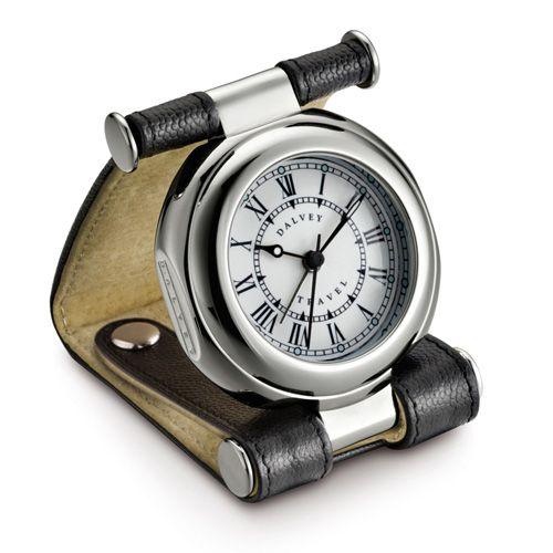 Часы дорожные Dalvey Travel SP в черной коже с двумя кнопками, фото