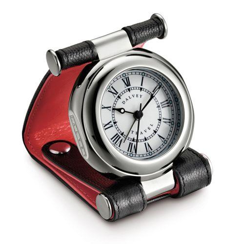 Часы дорожные Dalvey Travel SP в черно-красной коже с двумя кнопками