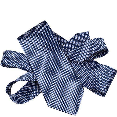 Шелковый галстук Lanvin темно-синий с мелким голубым и белым горохом, фото
