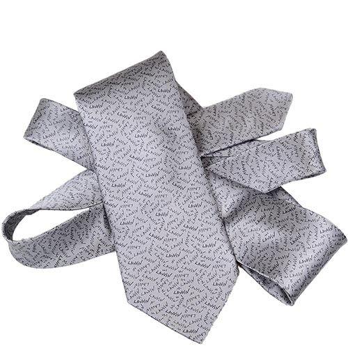 Шелковый галстук Lanvin серый с надписями в виде имени бренда, фото