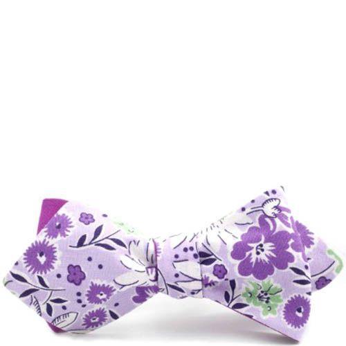 Галстук-бабочка Baboon двухсторонняя с острыми краями фиолетовая с цветочным принтом, фото