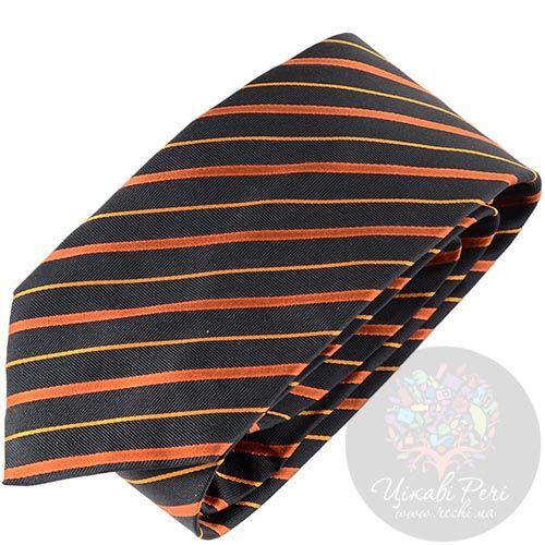 Галстук Balenciaga черный в оранжевую полоску, фото