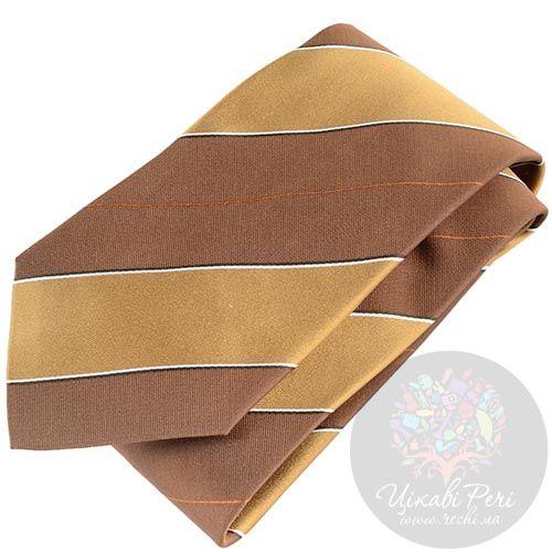 Галстук DKNY желто-коричневый с широкими полосками, фото