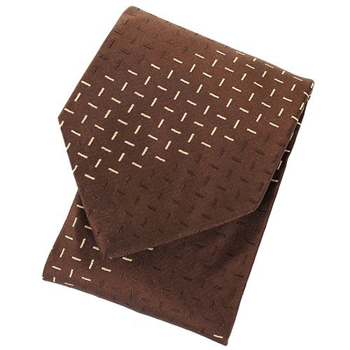 Галстук DKNY коричневого цвета с мелким геометрическим рисунком, фото
