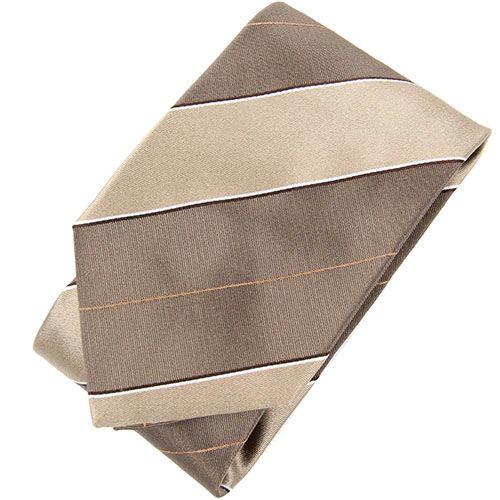 Шелковый галстук DKNY темно-бежевого цвета в широкую светло-бежевую полоску, фото
